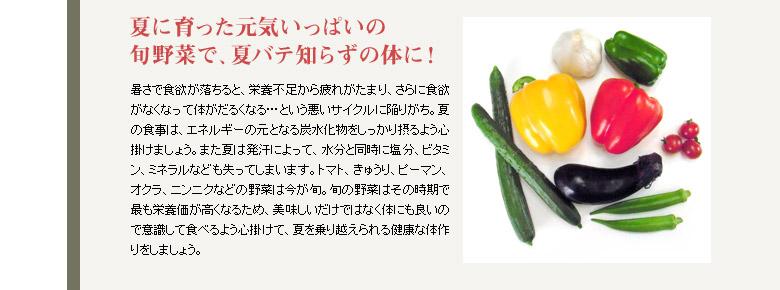 夏に育った元気いっぱいの旬野菜で、夏バテ知らずの体に!