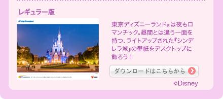 レギュラー版 東京ディズニーランド(R)は夜もロマンチック。昼間とは違う一面を持つ、ライトアップされた『シンデレラ城』の壁紙をデスクトップに飾ろう! ダウンロードはこちらから (C)Disney