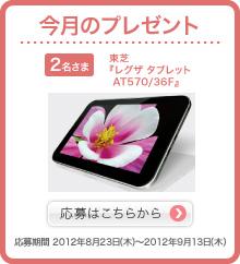 今月のプレゼント 2名さま 東芝『レグザ タブレット AT570/36F』 応募はこちらから 応募期間2012年8月23日(木)〜2012年9月13日(木)