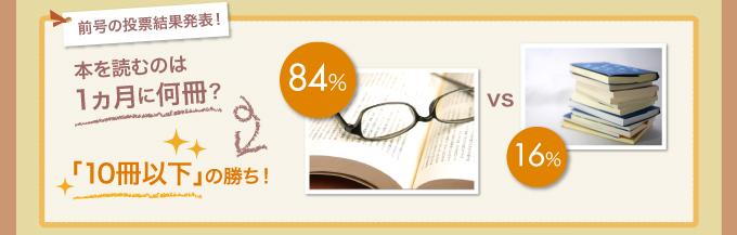 前号の投票結果発表! 本を読むのは1ヵ月に何冊? 84%vs16% 「10冊以下」の勝ち!