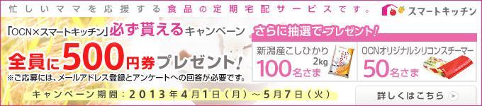 「OCN×スマートキッチン」必ず貰えるキャンペーン実施中! 今なら、NTTコミュニケーションズ株式会社へのメールアドレス登録と、株式会社スマートキッチンへのアンケート回答で、もれなく、スマートキッチン定期便で使える「500円券」プレゼント。さらに抽選でプレゼントも! キャンペーン期間は2013年5月7日(火)まで。 詳しくはこちら