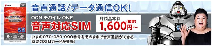 音声通話/データ通信OK! OCN モバイル ONE 音声対応SIM