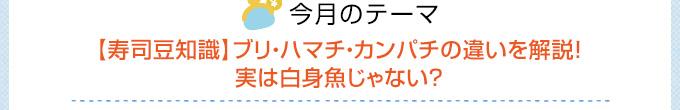 今月のテーマ 【寿司豆知識】ブリ・ハマチ・カンパチの違いを解説!実は白身魚じゃない?