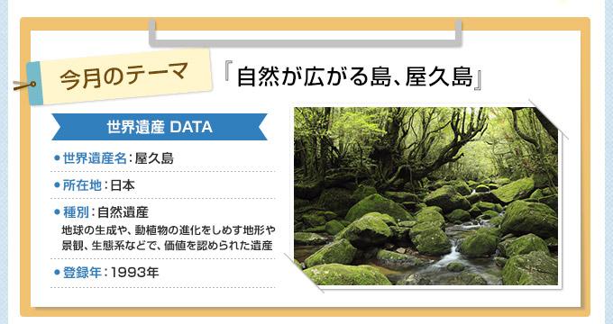 今月のテーマ『自然が広がる島、屋久島』